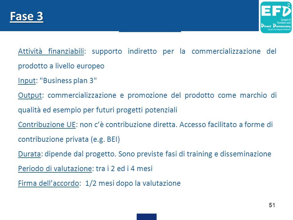 Fase 3 Attività finanziabili: supporto indiretto per la commercializzazione del prodotto a livello europeo.