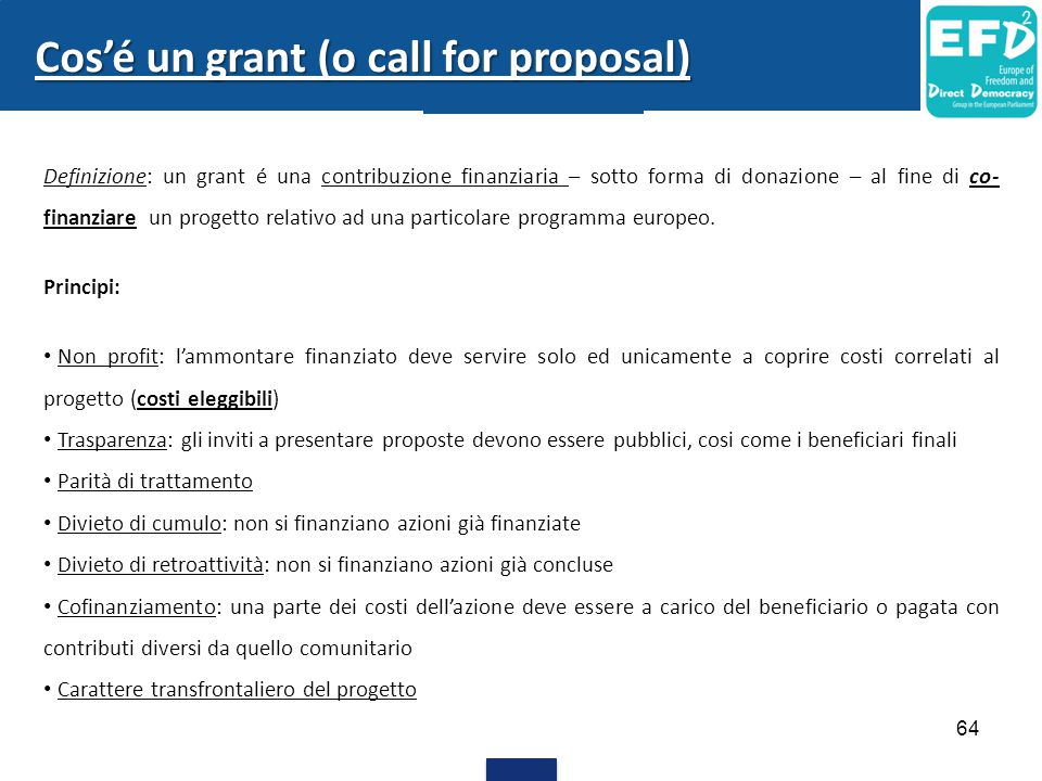 Cos'é un grant (o call for proposal)