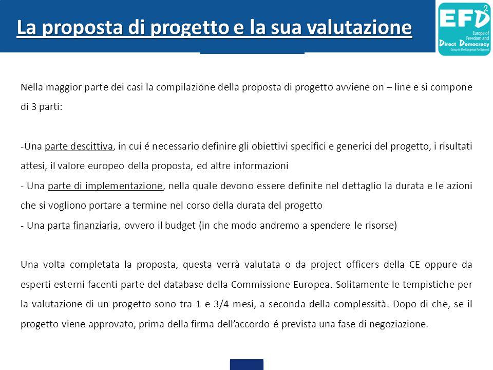La proposta di progetto e la sua valutazione