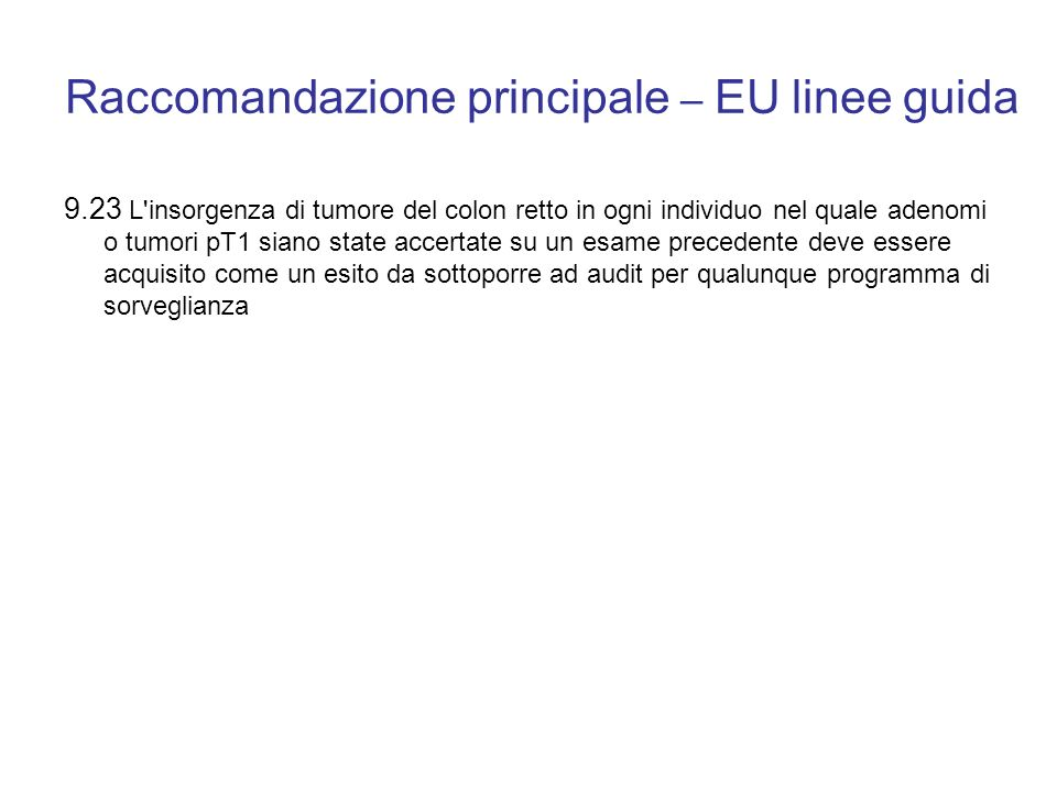 Raccomandazione principale – EU linee guida