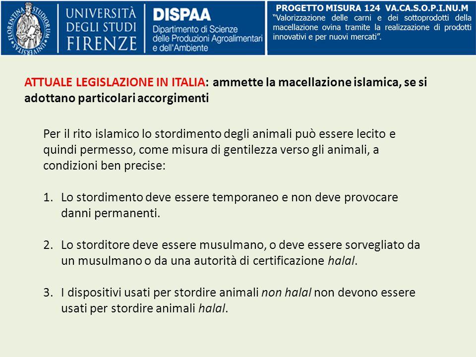 ATTUALE LEGISLAZIONE IN ITALIA: ammette la macellazione islamica, se si adottano particolari accorgimenti