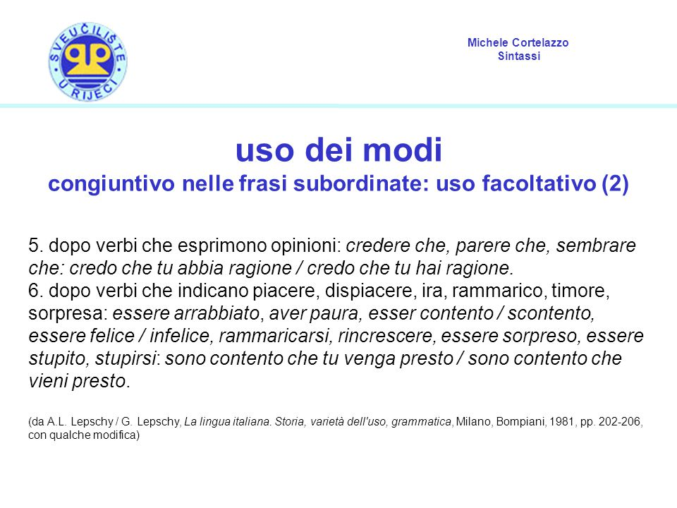 congiuntivo nelle frasi subordinate: uso facoltativo (2)