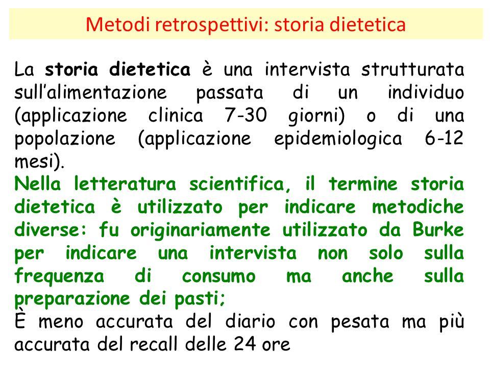 Metodi retrospettivi: storia dietetica