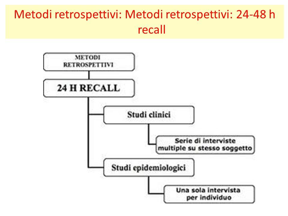 Metodi retrospettivi: Metodi retrospettivi: 24-48 h recall
