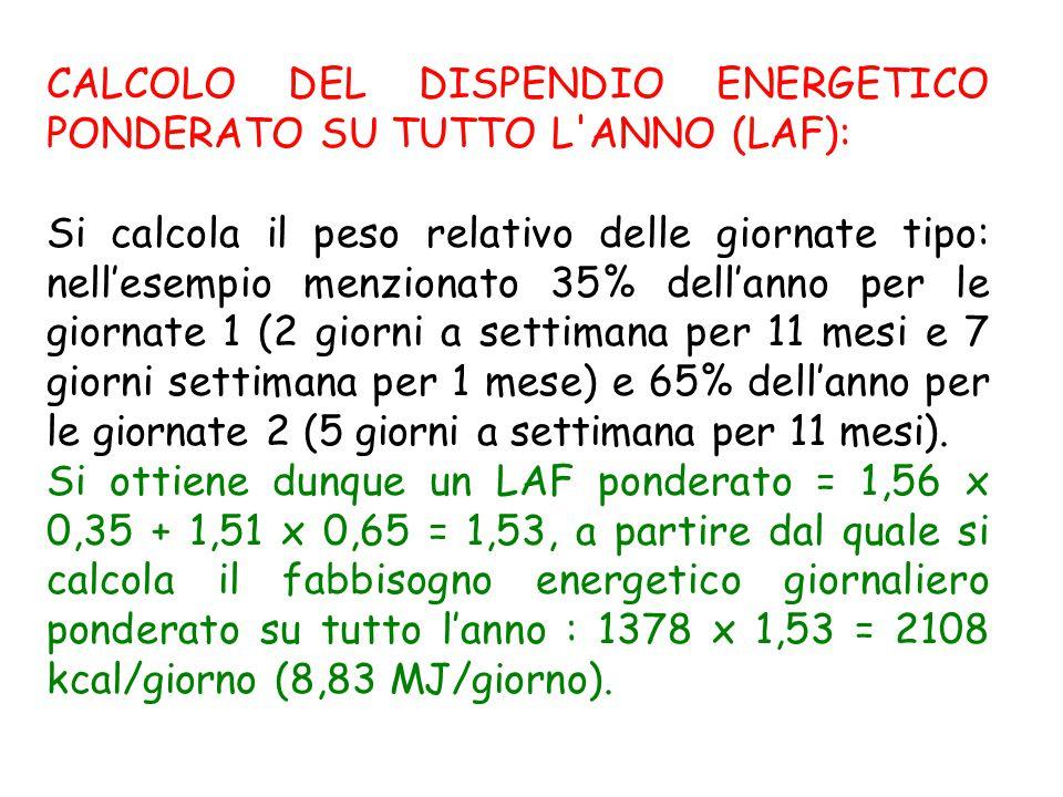 CALCOLO DEL DISPENDIO ENERGETICO PONDERATO SU TUTTO L ANNO (LAF):