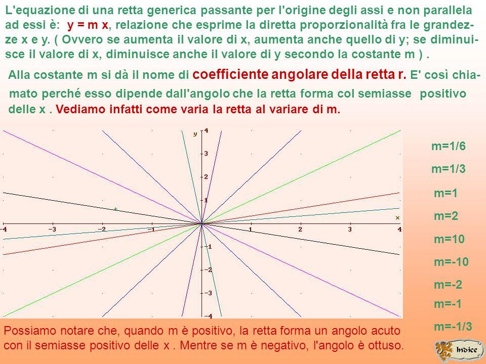 L equazione di una retta generica passante per l origine degli assi e non parallela