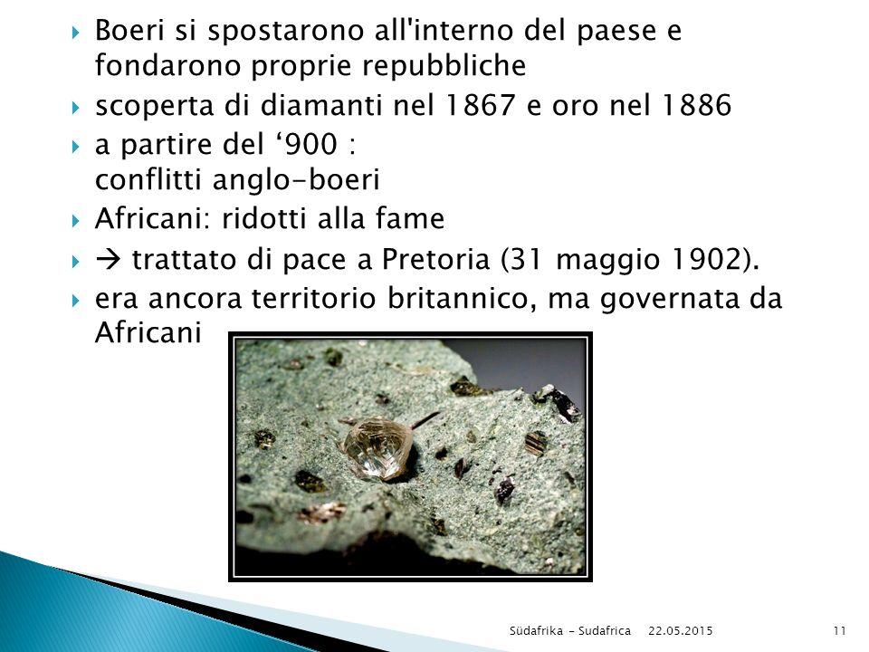 scoperta di diamanti nel 1867 e oro nel 1886