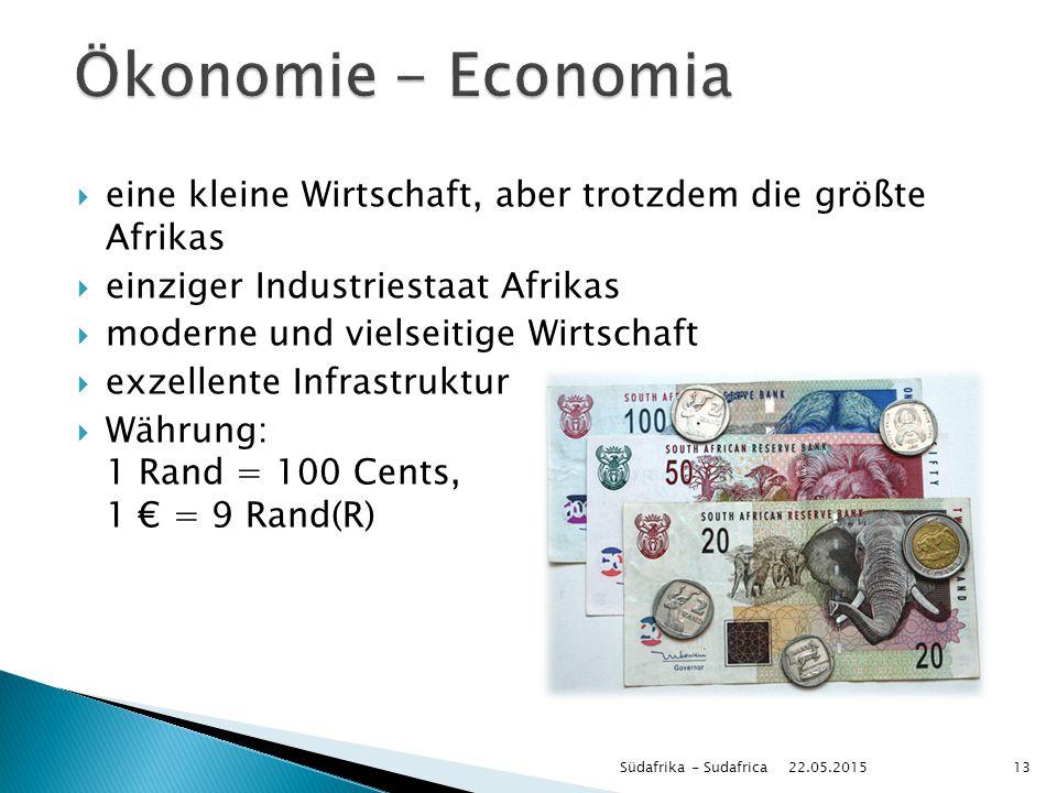 Ökonomie - Economia eine kleine Wirtschaft, aber trotzdem die größte Afrikas. einziger Industriestaat Afrikas.