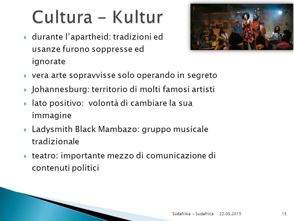 Cultura - Kultur durante l'apartheid: tradizioni ed usanze furono soppresse ed ignorate. vera arte sopravvisse solo operando in segreto.