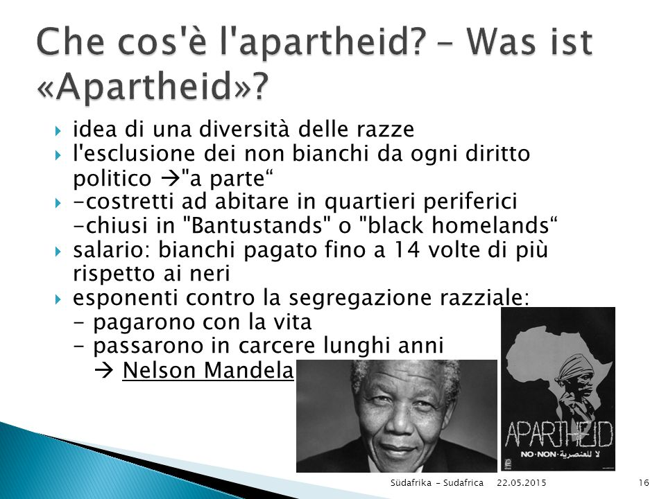Che cos è l apartheid – Was ist «Apartheid»