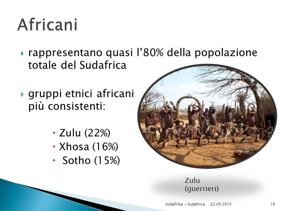 Africani rappresentano quasi l'80% della popolazione totale del Sudafrica. gruppi etnici africani più consistenti: