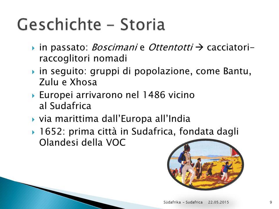 Geschichte - Storia in passato: Boscimani e Ottentotti  cacciatori- raccoglitori nomadi.