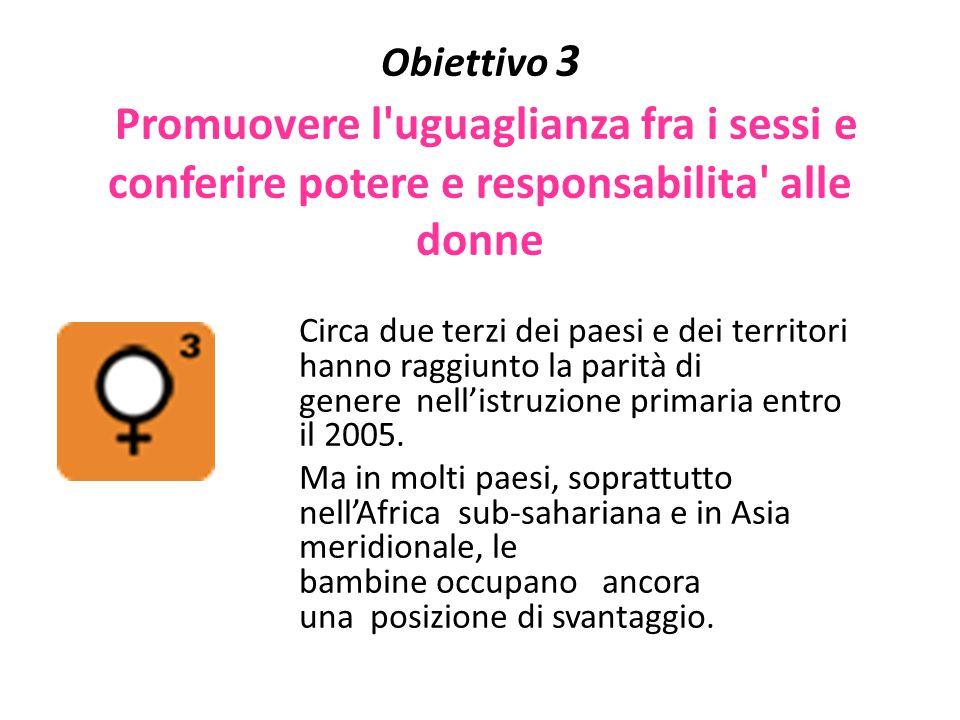 Obiettivo 3 Promuovere l uguaglianza fra i sessi e conferire potere e responsabilita alle donne
