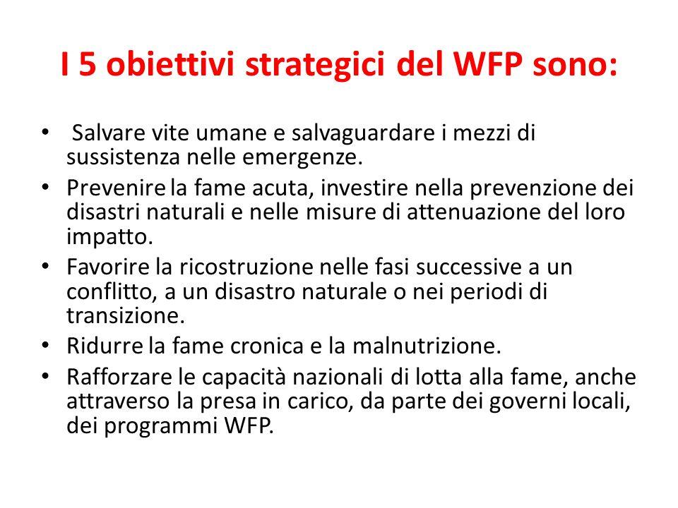 I 5 obiettivi strategici del WFP sono: