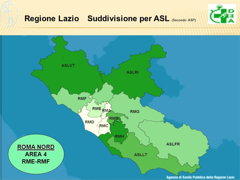 Regione Lazio Suddivisione per ASL (Secondo ASP)