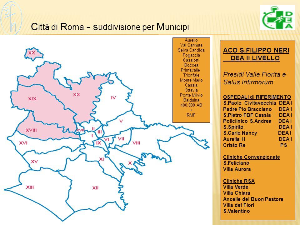 Città di Roma – suddivisione per Municipi