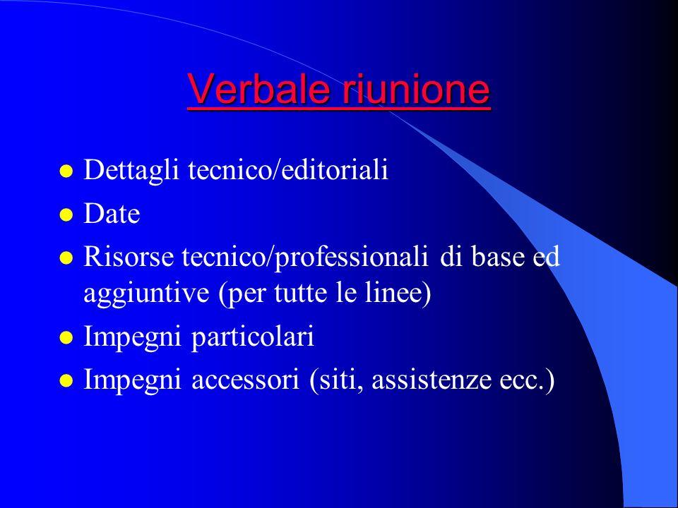 Verbale riunione Dettagli tecnico/editoriali Date