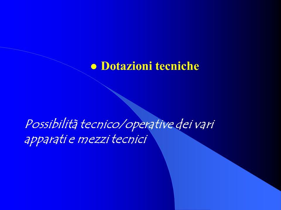 Possibilità tecnico/operative dei vari apparati e mezzi tecnici