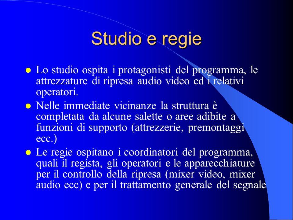 Studio e regie Lo studio ospita i protagonisti del programma, le attrezzature di ripresa audio video ed i relativi operatori.