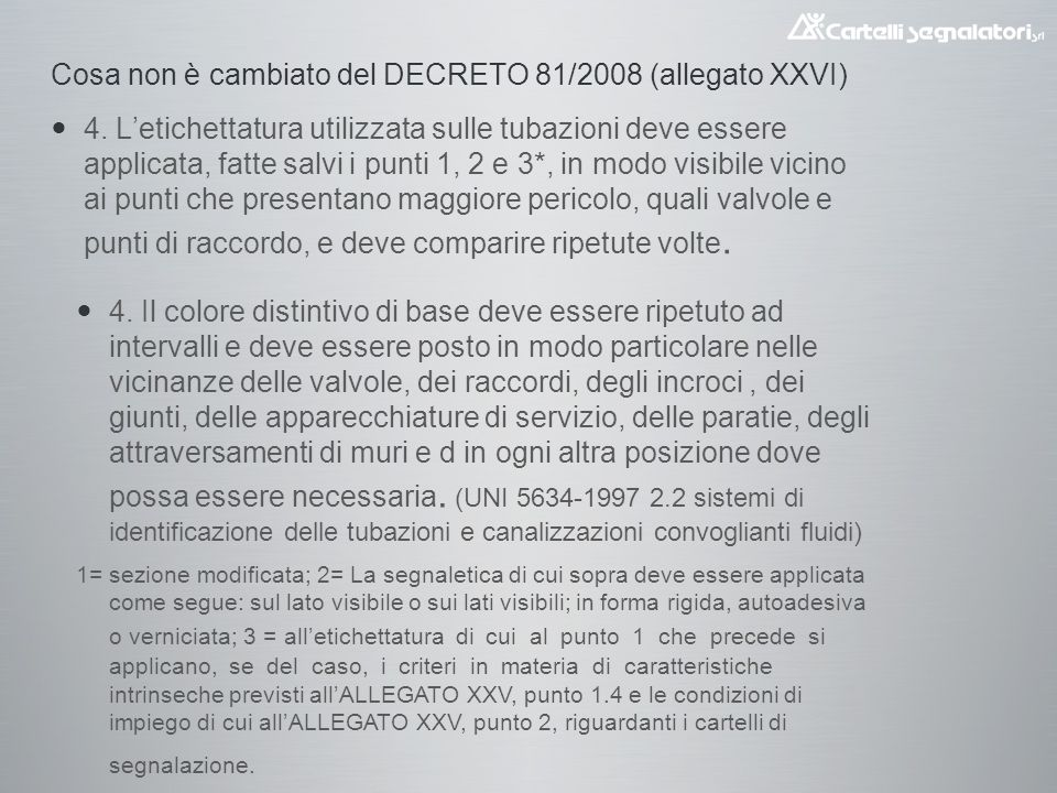 Cosa non è cambiato del DECRETO 81/2008 (allegato XXVI)