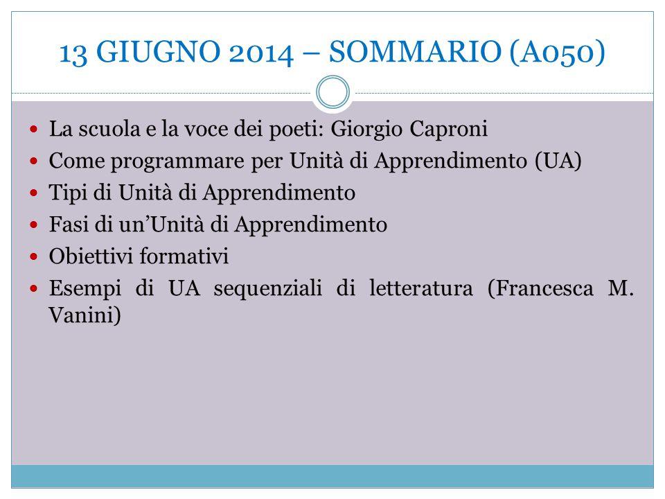 13 GIUGNO 2014 – SOMMARIO (A050) La scuola e la voce dei poeti: Giorgio Caproni. Come programmare per Unità di Apprendimento (UA)