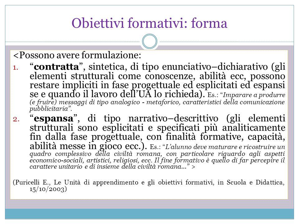 Obiettivi formativi: forma