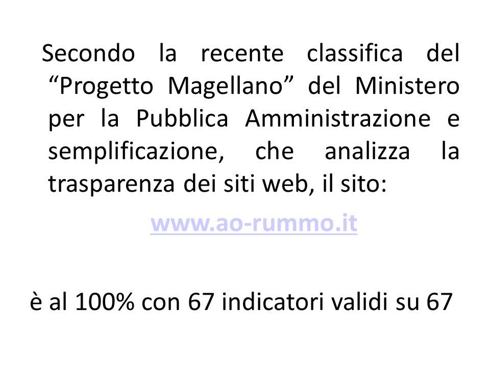 Secondo la recente classifica del Progetto Magellano del Ministero per la Pubblica Amministrazione e semplificazione, che analizza la trasparenza dei siti web, il sito: