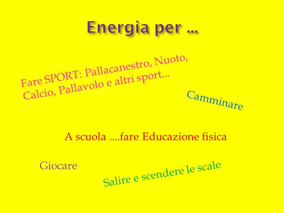 Energia per ... Fare SPORT: Pallacanestro, Nuoto, Calcio, Pallavolo e altri sport... Camminare. A scuola ....fare Educazione fisica.
