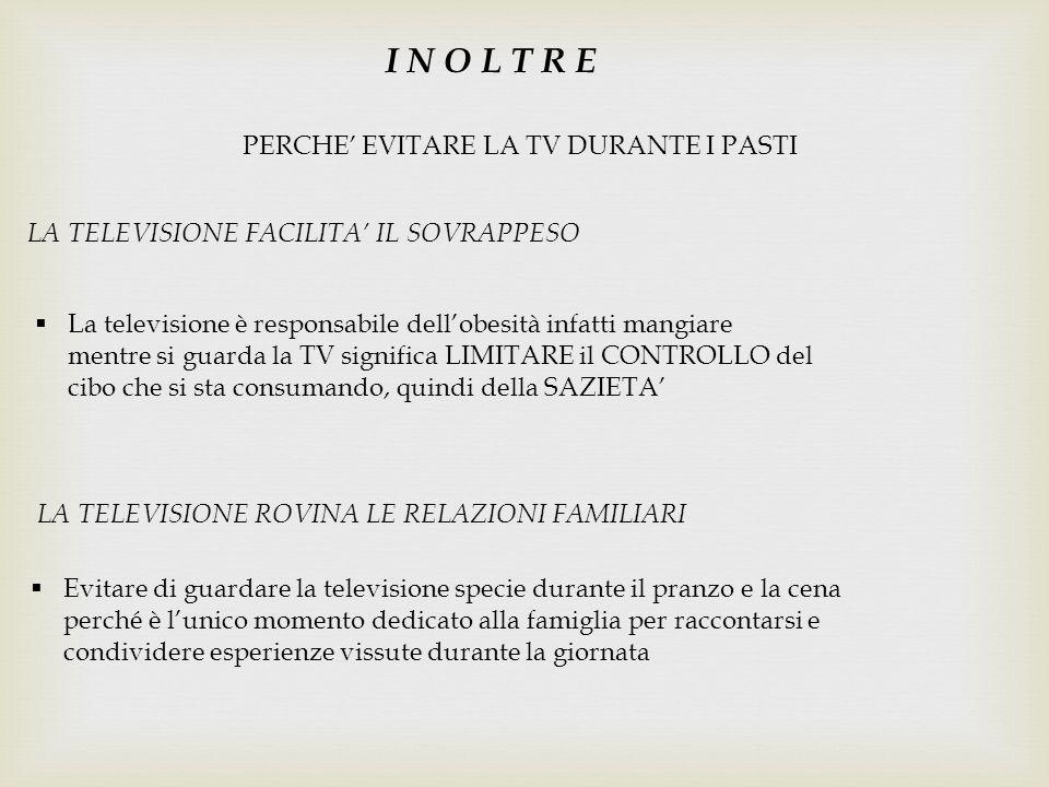 PERCHE' EVITARE LA TV DURANTE I PASTI