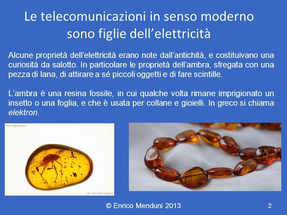 Le telecomunicazioni in senso moderno sono figlie dell'elettricità
