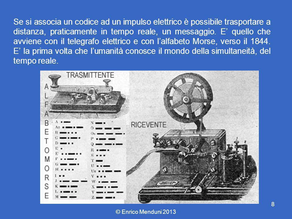 Se si associa un codice ad un impulso elettrico è possibile trasportare a distanza, praticamente in tempo reale, un messaggio. E' quello che avviene con il telegrafo elettrico e con l'alfabeto Morse, verso il 1844. E' la prima volta che l'umanità conosce il mondo della simultaneità, del tempo reale.