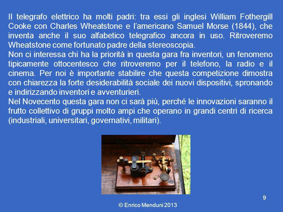 Il telegrafo elettrico ha molti padri: tra essi gli inglesi William Fothergill Cooke con Charles Wheatstone e l'americano Samuel Morse (1844), che inventa anche il suo alfabetico telegrafico ancora in uso. Ritroveremo Wheatstone come fortunato padre della stereoscopia.
