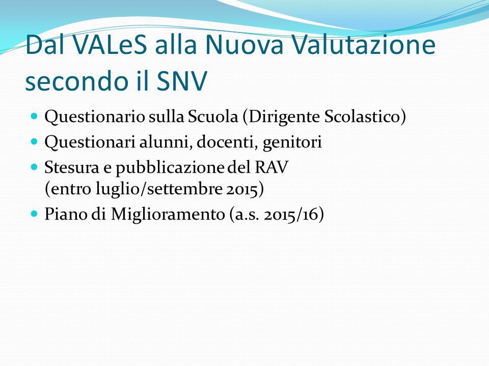 Dal VALeS alla Nuova Valutazione secondo il SNV