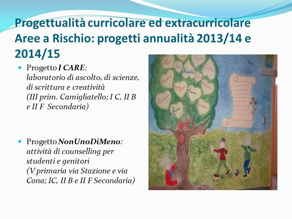 Progettualità curricolare ed extracurricolare Aree a Rischio: progetti annualità 2013/14 e 2014/15
