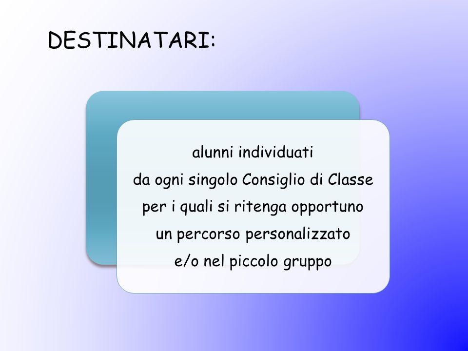 DESTINATARI: alunni individuati da ogni singolo Consiglio di Classe