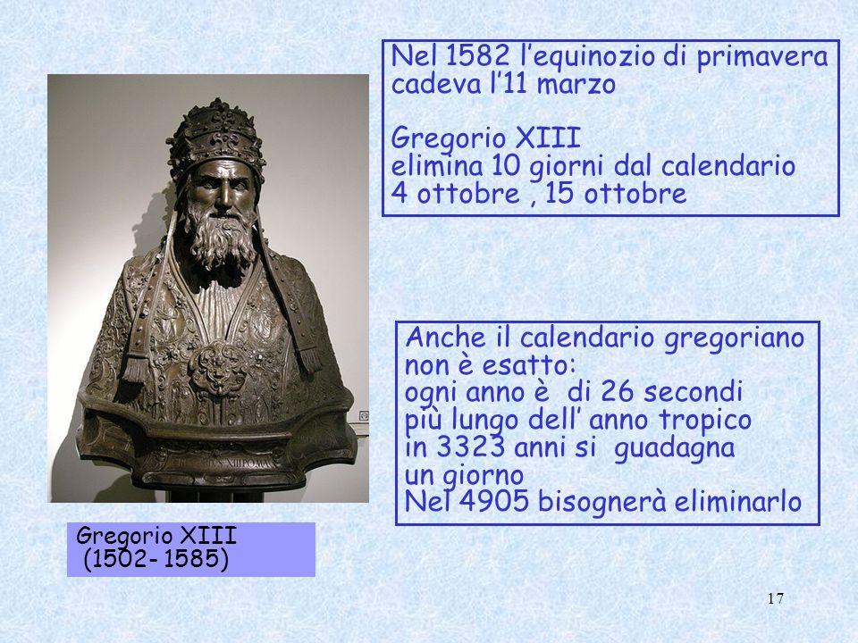 Nel 1582 l'equinozio di primavera cadeva l'11 marzo Gregorio XIII