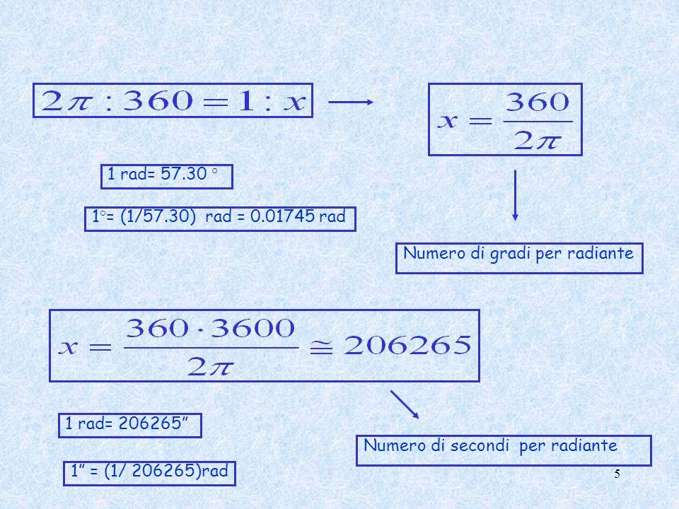 1 rad= 57.30 ° 1°= (1/57.30) rad = 0.01745 rad. Numero di gradi per radiante. 1 rad= 206265 Numero di secondi per radiante.