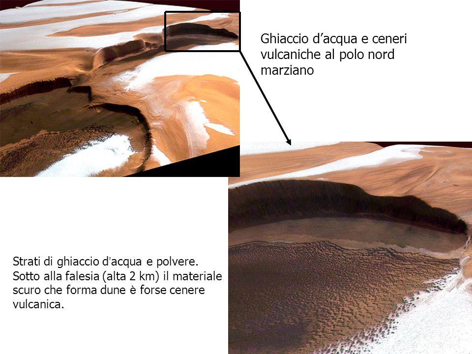 Ghiaccio d'acqua e ceneri vulcaniche al polo nord marziano
