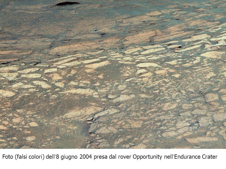 Foto (falsi colori) dell'8 giugno 2004 presa dal rover Opportunity nell'Endurance Crater