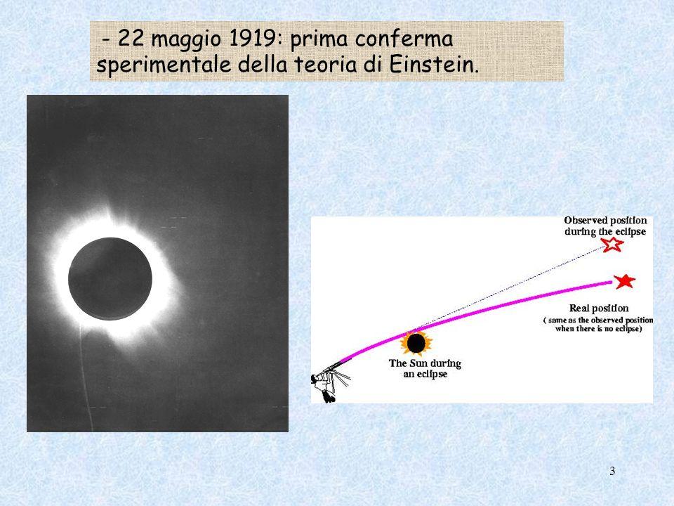 - 22 maggio 1919: prima conferma sperimentale della teoria di Einstein.