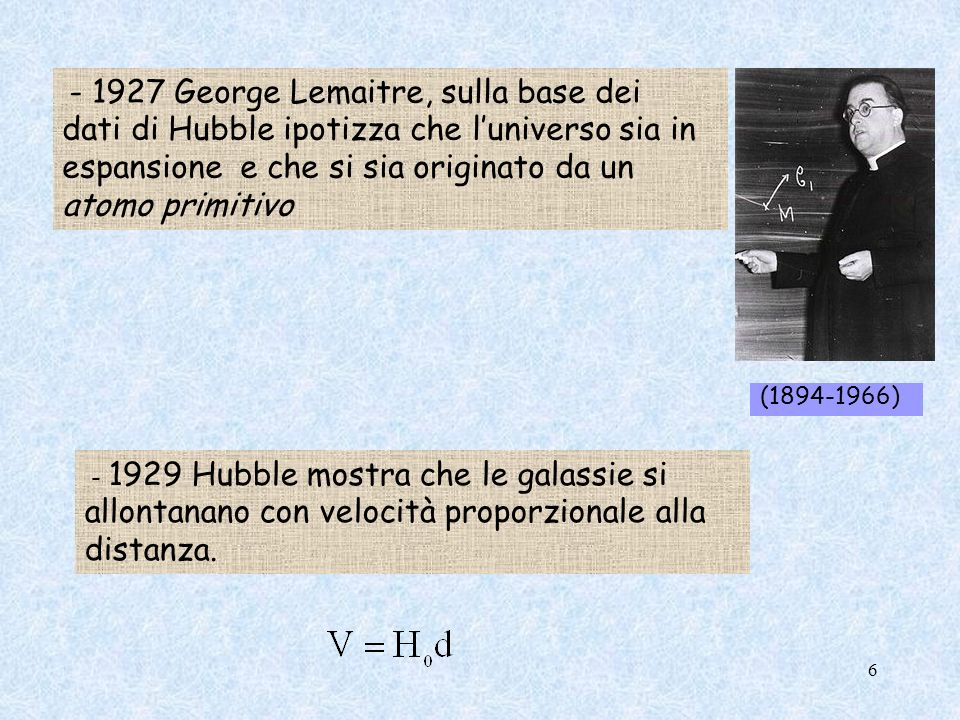 - 1927 George Lemaitre, sulla base dei dati di Hubble ipotizza che l'universo sia in espansione e che si sia originato da un atomo primitivo