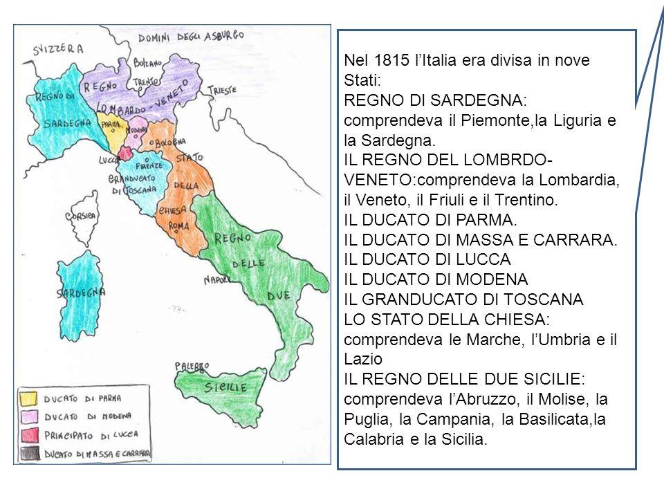 Nel 1815 l'Italia era divisa in nove Stati: