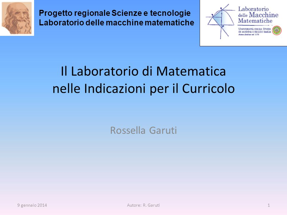 Il Laboratorio di Matematica nelle Indicazioni per il Curricolo