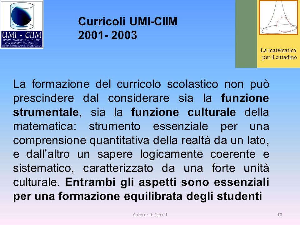 Curricoli UMI-CIIM 2001- 2003 La matematica. per il cittadino.
