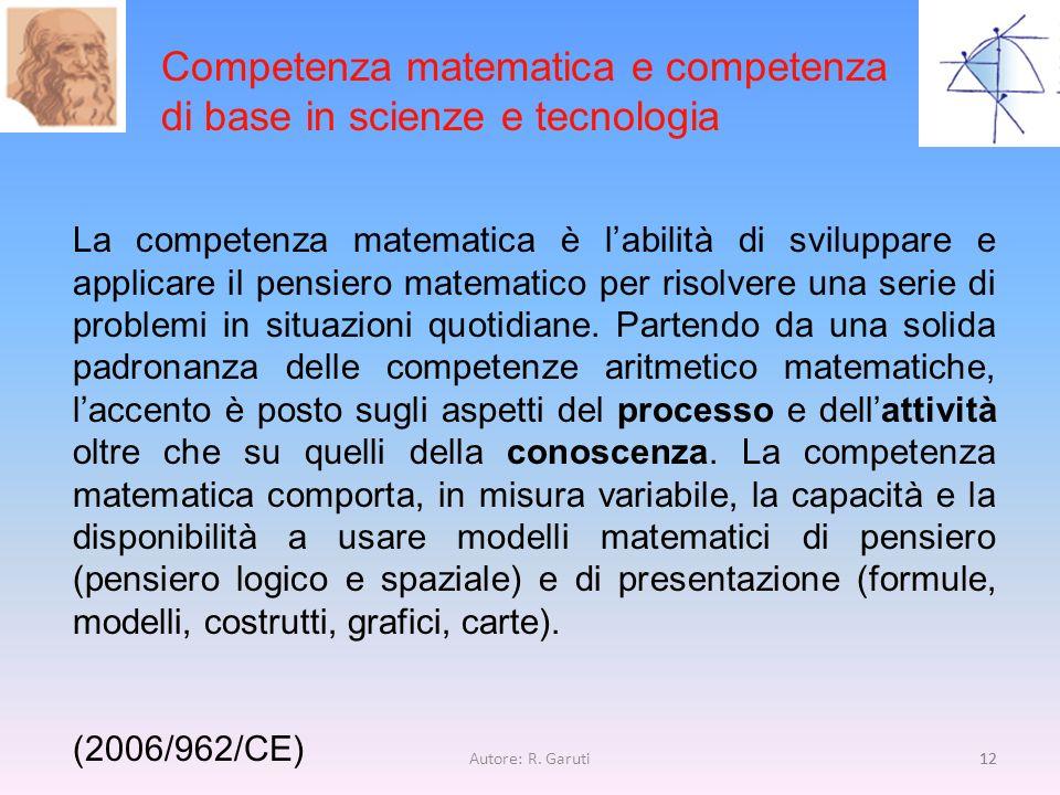 Competenza matematica e competenza di base in scienze e tecnologia