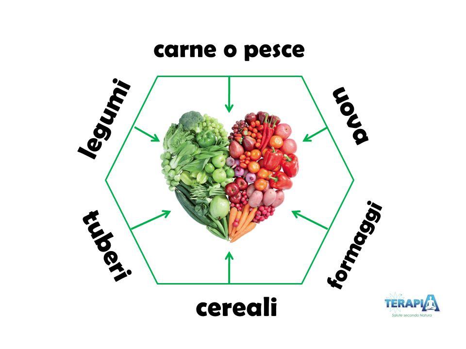 carne o pesce uova legumi tuberi formaggi cereali