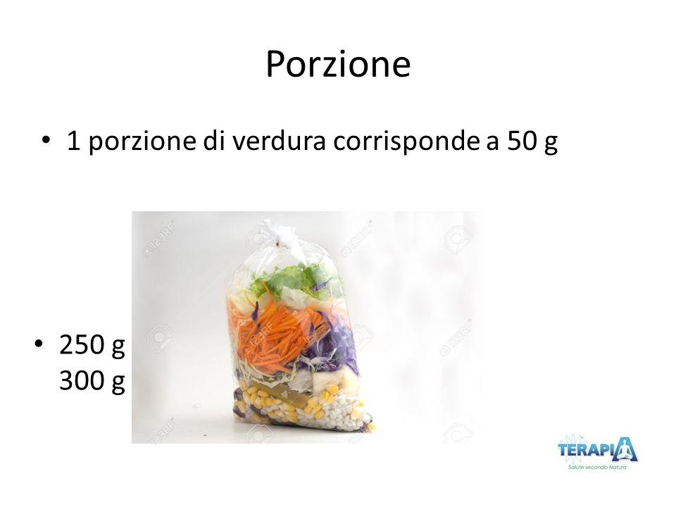Porzione 1 porzione di verdura corrisponde a 50 g 250 g 300 g