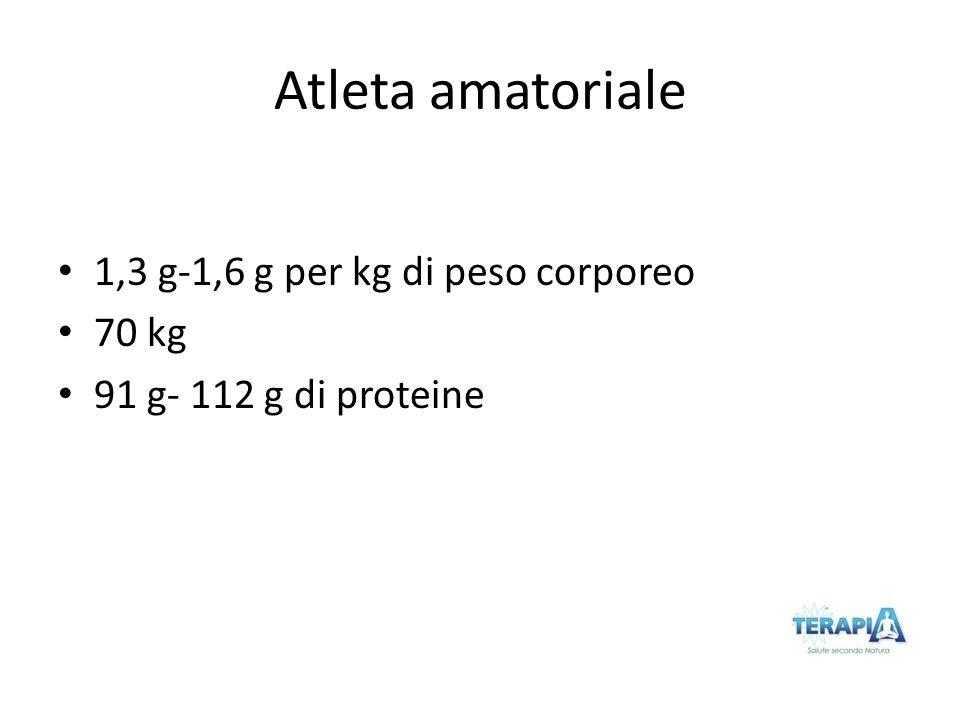 Atleta amatoriale 1,3 g-1,6 g per kg di peso corporeo 70 kg