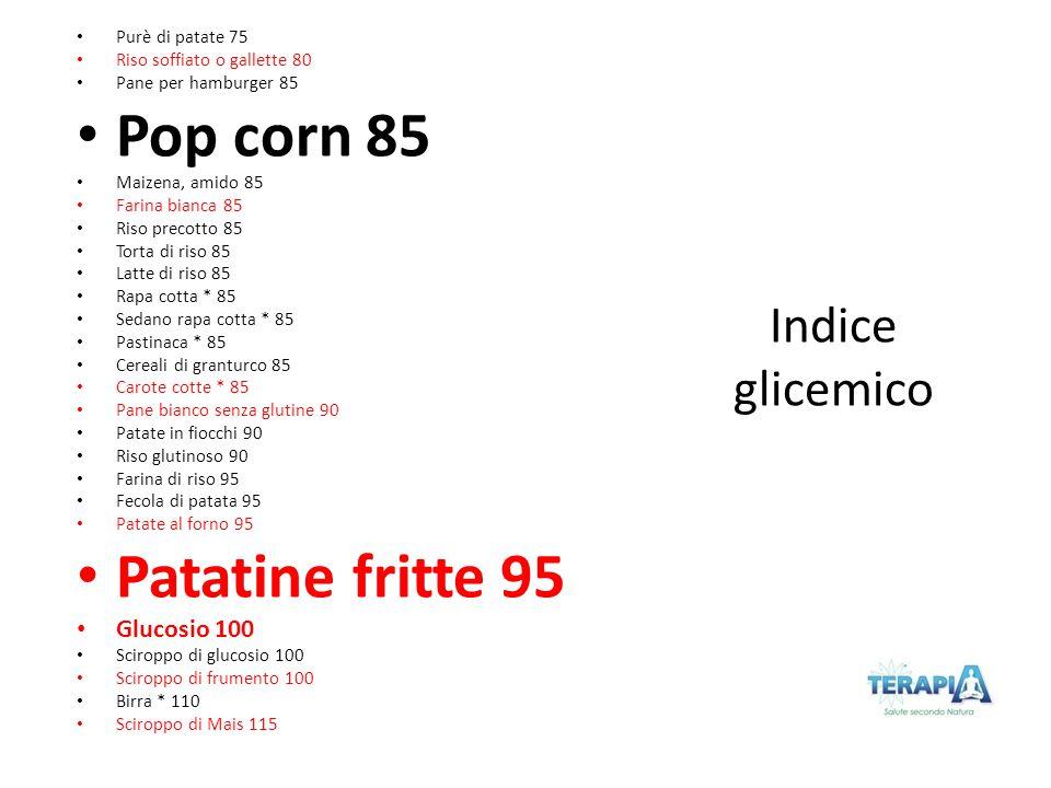 Pop corn 85 Patatine fritte 95 Indice glicemico Glucosio 100
