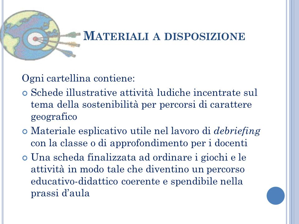 Materiali a disposizione